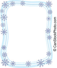 A wintery blue border with snowflakes around the edge.
