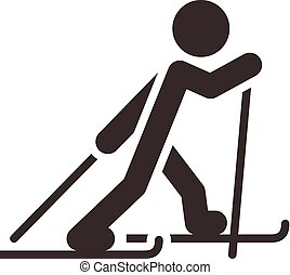 Winter sport icon set - Cross-country skiing icon