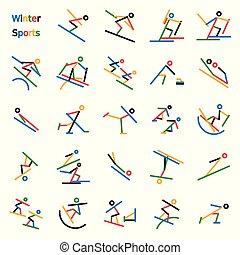Winter Sport Stick Figures
