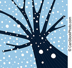 Tree with winter weather atmosphere. Vector Illustration.