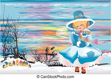 Winter walk the girl