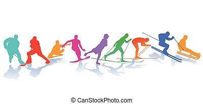 Winter sports, Ice skating, Skiing, snowboarder
