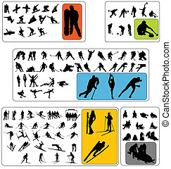 large collection of wintersport silhouettes