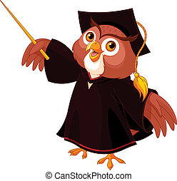 Cartoon of pointing wise owl