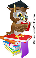 An illustration of a wise owl on a stack of books reading wearing spectacles and a mortar board graduate cap.