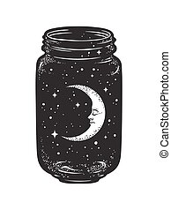 Hand drawn wish jar. Crescent moon and stars in glass jar isolated. Sticker, print or tattoo design vector illustration.