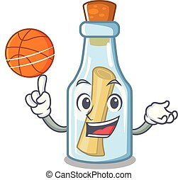 With basketball message in bottle isolated with cartoon