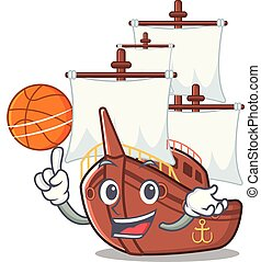 With basketball pirate ship isolated with the cartoon