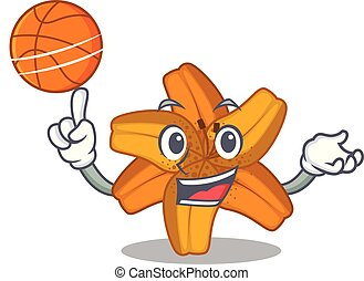 With basketball tiger lily flower in cartoon form