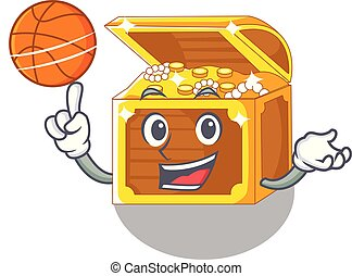 With basketball treasure underwater isolated with the mascot