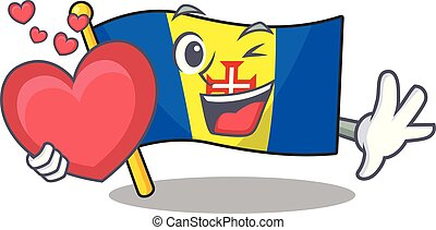 With heart flag madeira cartoon character mascot style