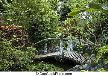 woden bridge in eastern garden