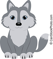 Baby wolf seated