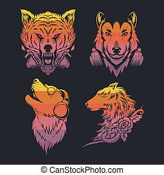 wolf collection retro vector illustration