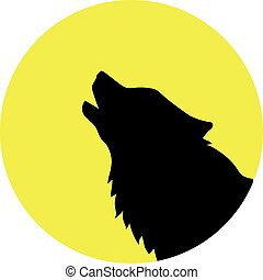 Wolf head in front of a yellow moon
