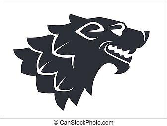 Wolf head silhouette, wild animal logo or heraldry