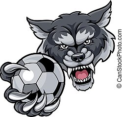 Wolf Holding Soccer Football Ball Mascot