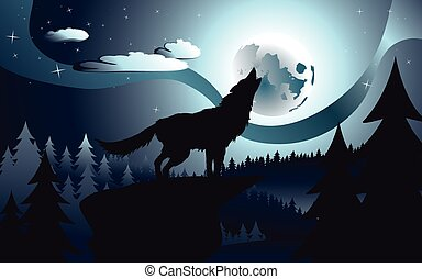Wolf Howling in the Night Forest