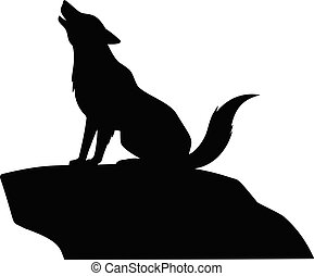 Wolf Howling on Rock