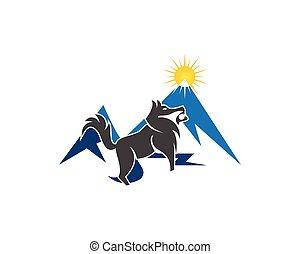 Wolf in mountain logo vector illustration