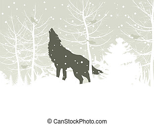 Wolf in wood