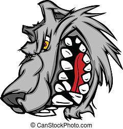 Cartoon Vector Image of a Wolf Mascot Head Snarling
