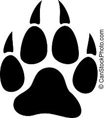 wolf paw print vector illustration