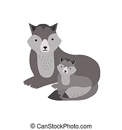 Wolf with pup isolated on white background. Adorable family of cute funny wild forest carnivorous animals. Parent with child, mother and baby or puppy. Flat cartoon childish vector illustration.