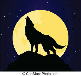 The wolf howls on the moon at night. A vector illustration