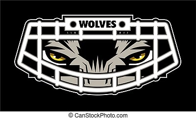 wolves football team design with mascot wearing facemask for school, college or league