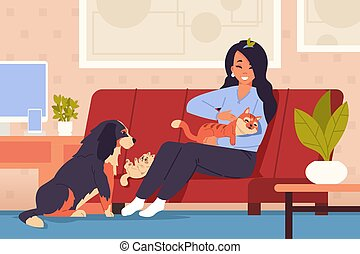 Woman at home with pets. Cartoon girl character relaxing on couch with orange striped cat, little kitten and friendly dog. Comfortable interior. Vector domestic animals in living room