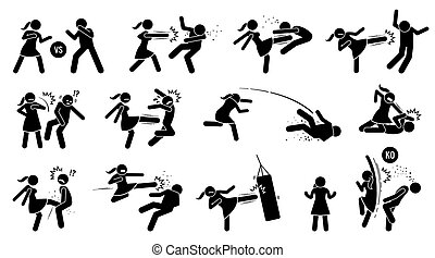 Woman beating man stick figure sign and symbols.