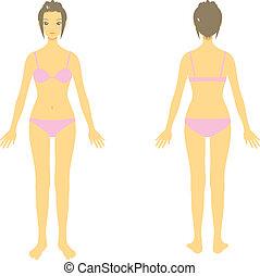 woman body, whole body, parts