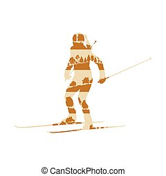 Woman cross country skiing vector background abstract concept made of forest trees fragments isolated