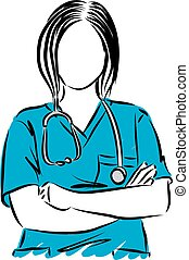 WOMAN DOCTOR CLOSE UP VECTOR ILLUSTRATION