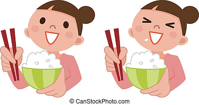 Woman eating delicious rice