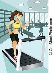 """A vector illustration of a beautiful woman exercise in a gym. Part of """"A Day In Life"""" series (see others in my portfolio)"""