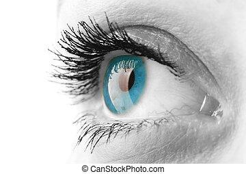 Woman eye with long eyelashes closeup