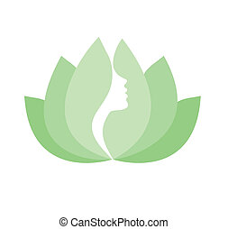 Woman face profile in lotus flower