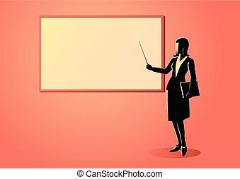 Woman figure standing near whiteboard