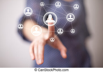 woman hand pressing social media icon