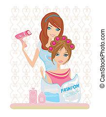 woman has dried hair in a beauty salon