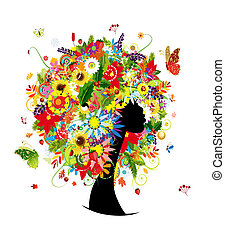 Woman head design, four seasons hairstyle with leaf and flowers