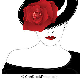 Vector silhouette of beautiful woman in a black hat with red rose