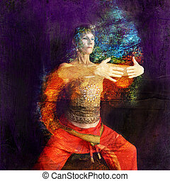 Woman in Asian Yoga Qigong influenced pose in a rust cylinder. Photo based illustration.