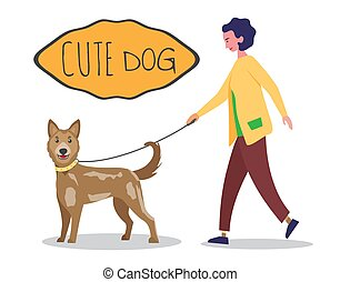 Woman in casual cloth walking with her dog on leash. Cute human and pet characters