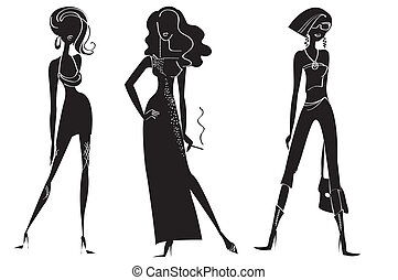 Woman in fashion clothes for design on white. Vector models