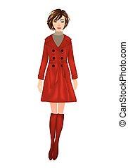 woman in red coat, vector