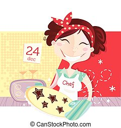 Eve is baking christmas cookies. Lifestyle vector Illustration.