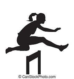 Woman jumping and running over hurdles, hurdle race, vector silhouette